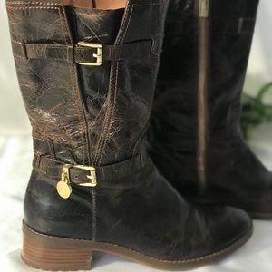 Michael Kors Brown Blake Distressed Buckle Boot